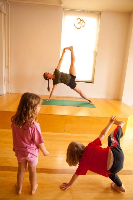 Michelle LaRue teaches a very young class during Yogathon 2012 at IYIGNY. Photo @ Liam Cunningham.