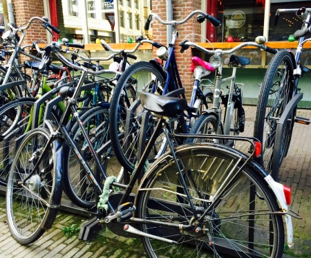The bicycle parking lot was overflowing.
