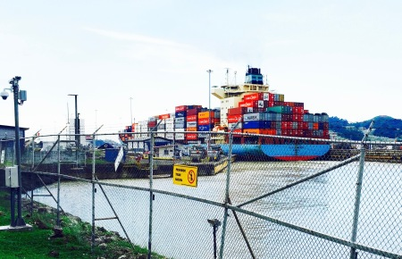 Container ship in the Panama Canal.